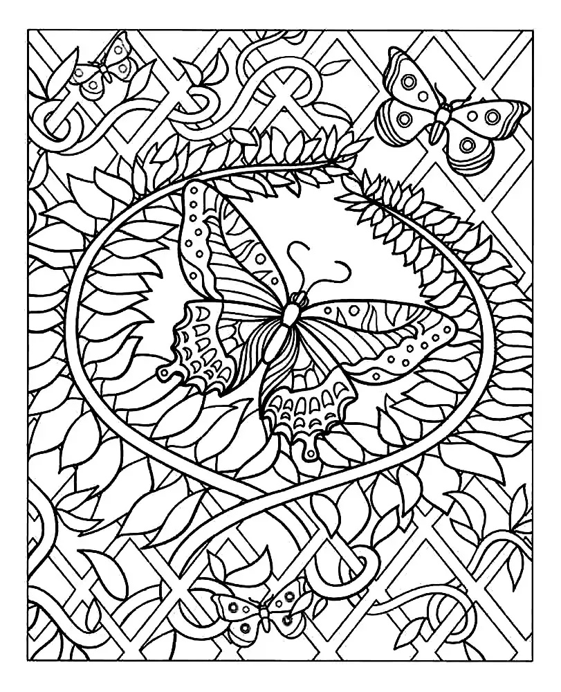 A superb coloring page with a majestic butterfly with harmonious patterns around