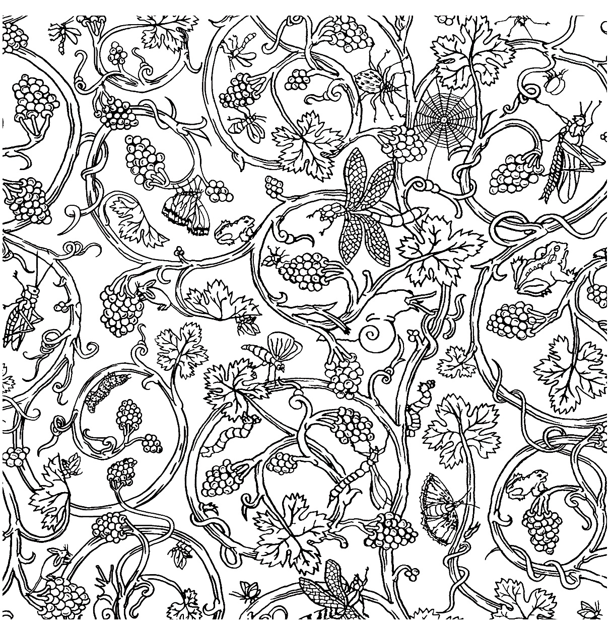 Patterns Inspired By Vintage Tapestry With Several Insects Hidden In The Branches And Foliage