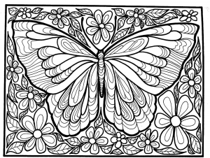 Coloring Adult Difficult Big Butterfly