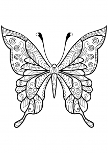 butterfly with beautiful patterns 4 - Insect Coloring Page