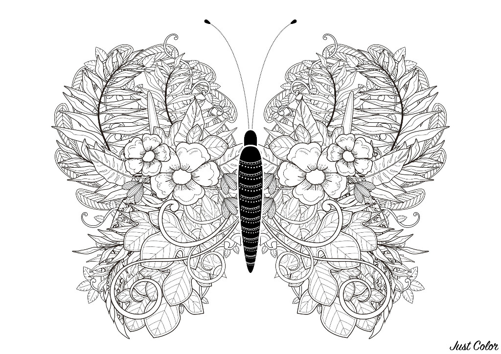 The leaves of this butterfly are drawn with flowers and leaves