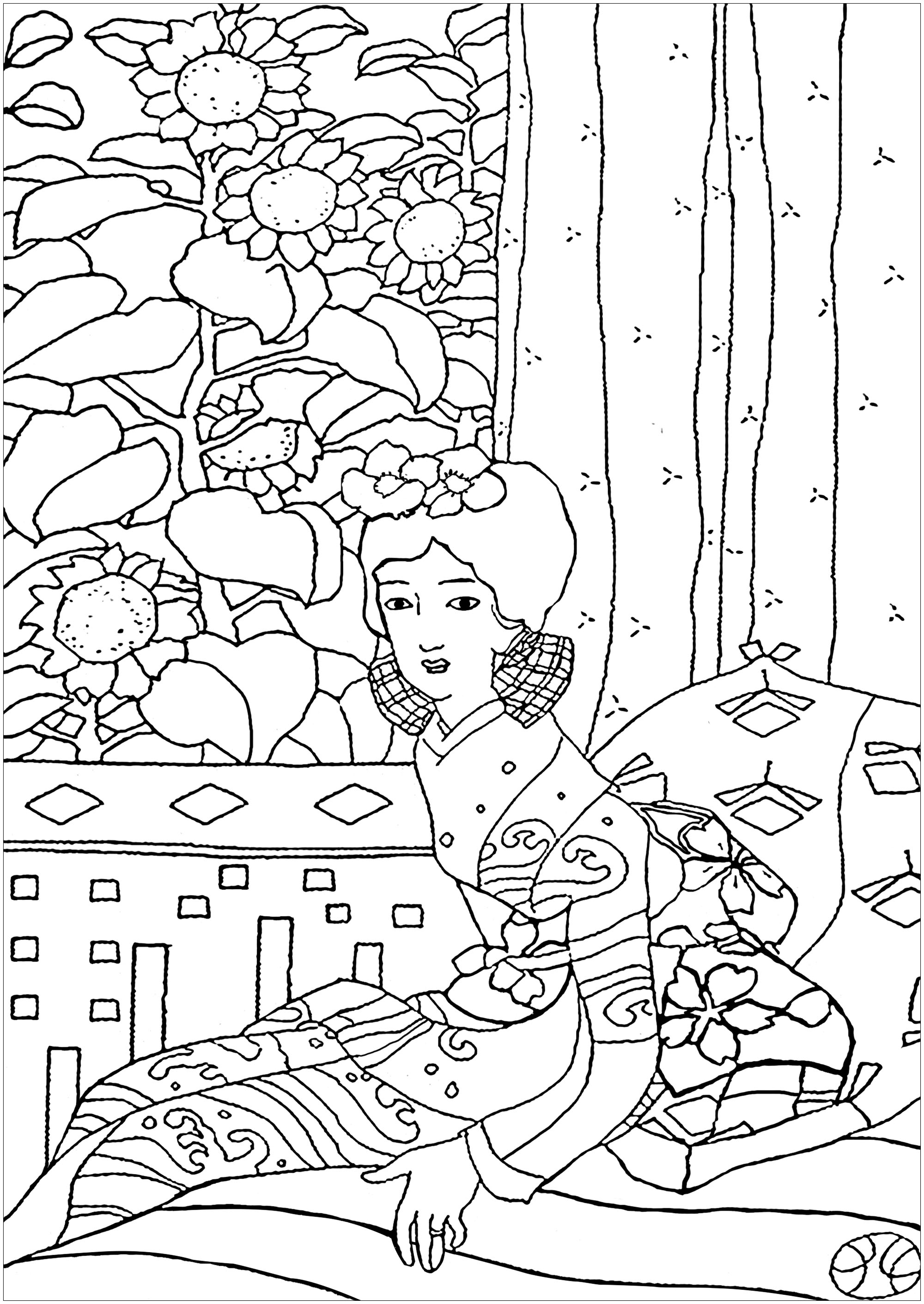 Coloring page created from a painting representing a Geisha, by japanese artist Yumeji Takehisa (1884 - 1934)