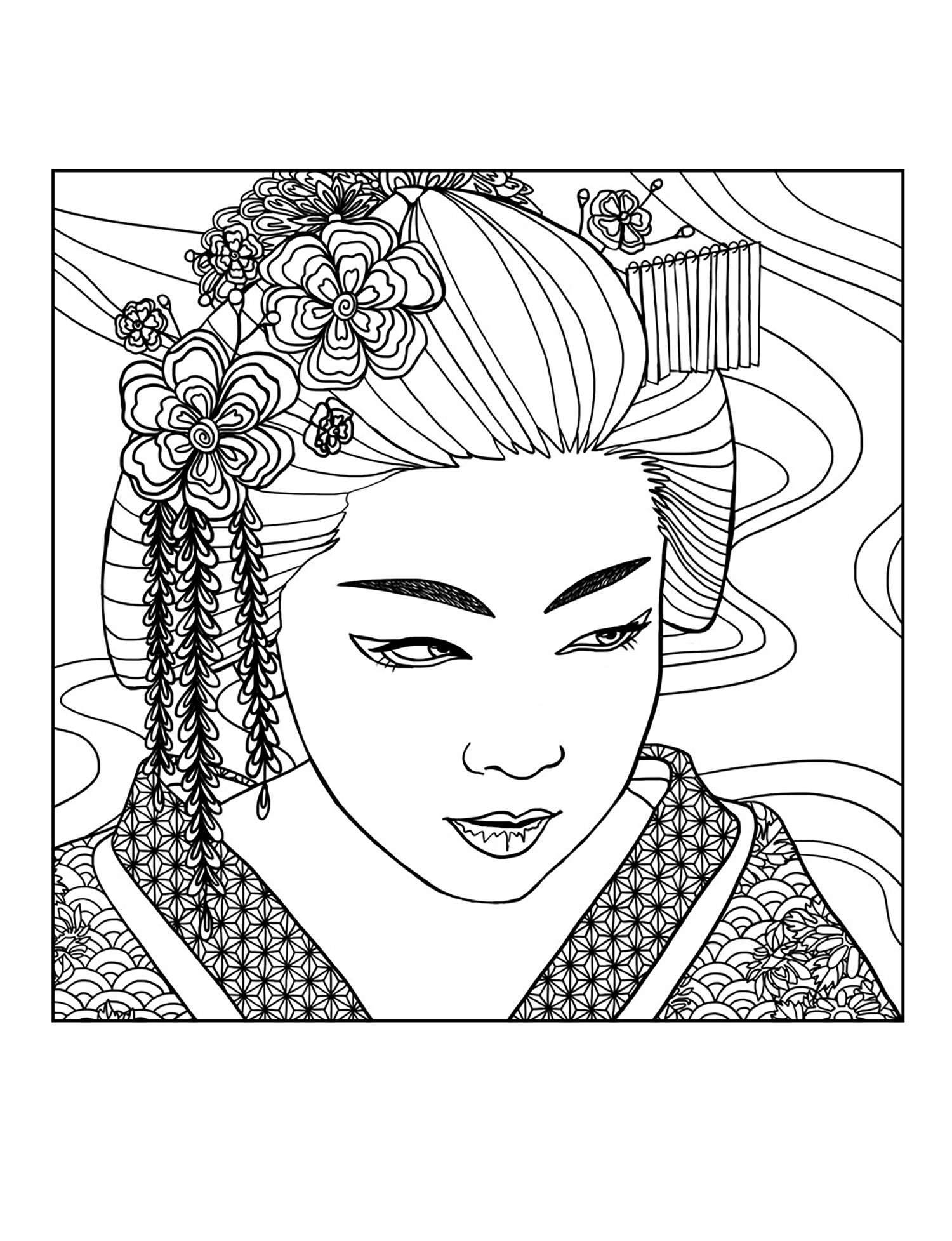 Geisha Face Japan Adult Coloring Pages