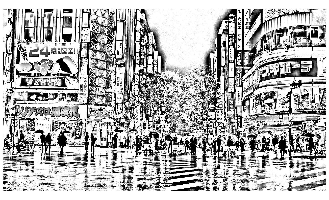 Tokyo in the rain - Japan Adult Coloring Pages