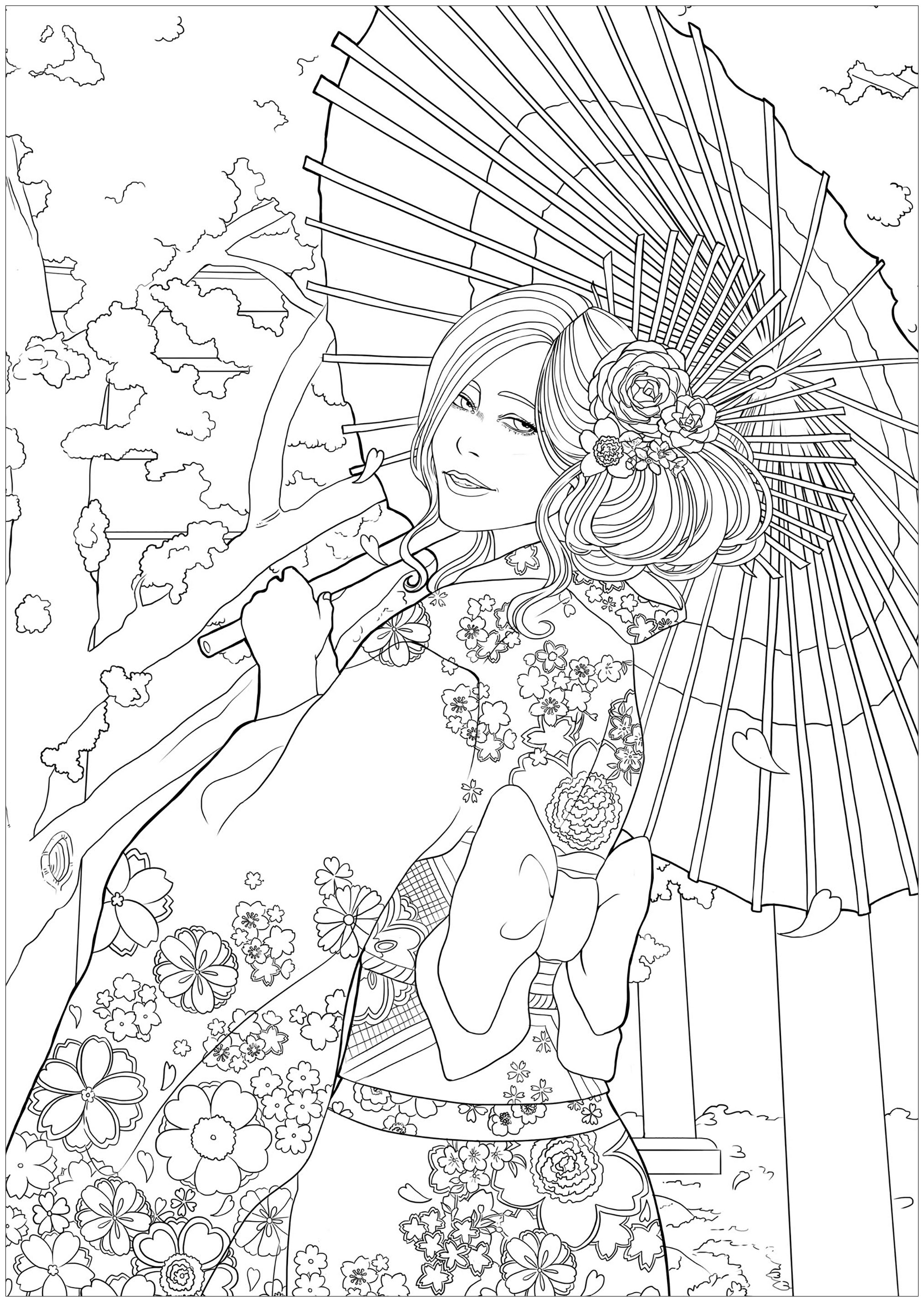 Elegant young woman in front of a temple and cherry blossoms, with her most beautiful yukata. Easy version 1