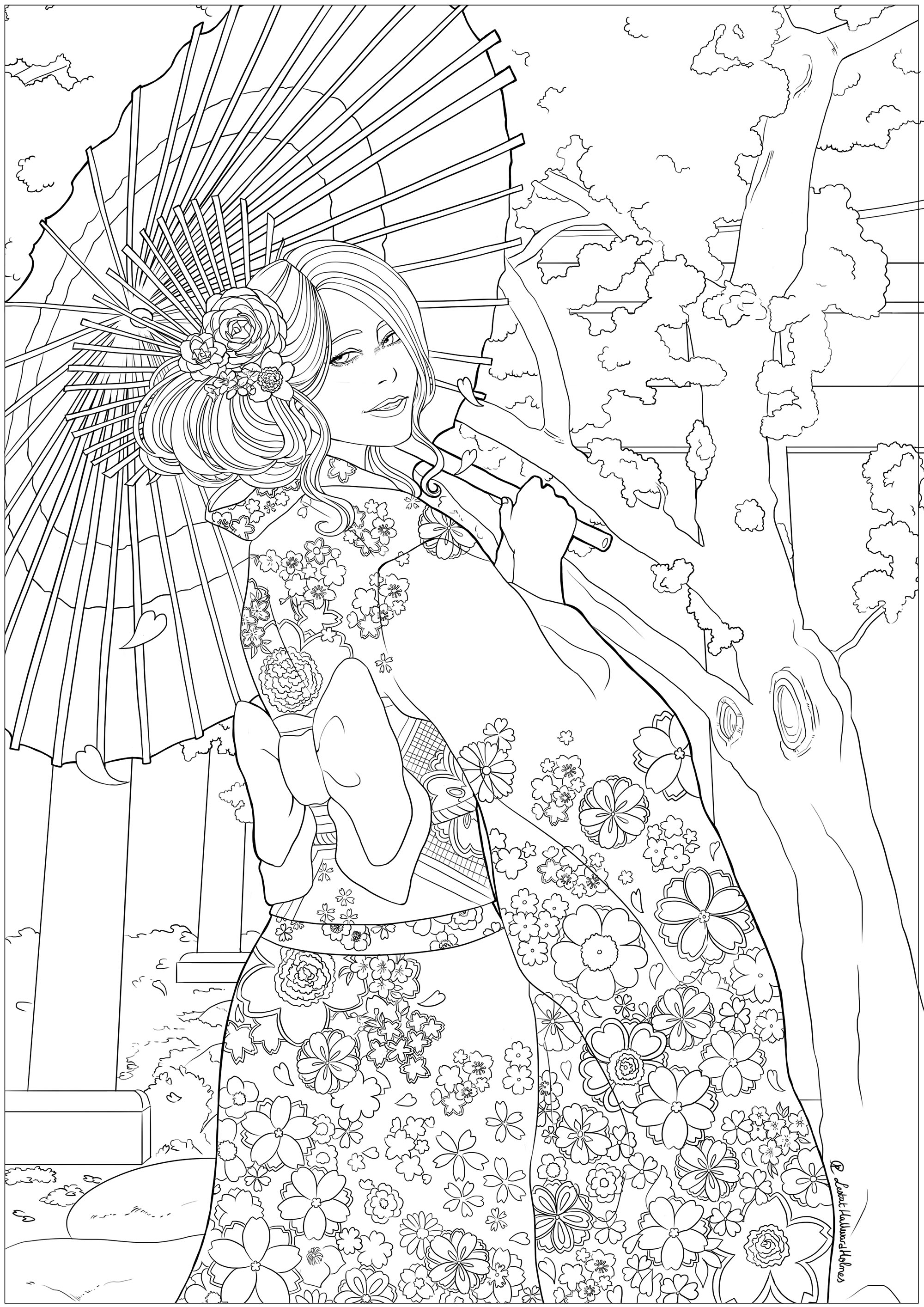 Elegant young woman in front of a temple and cherry blossoms, with her most beautiful yukata. Drawing celebrating Hanami, the Japanese spring festival.