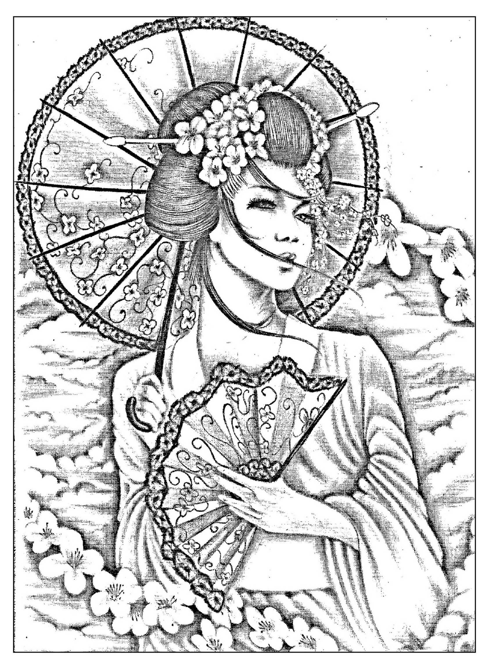 A beautiful Black & White drawing of a japanese with umbrella and évantail