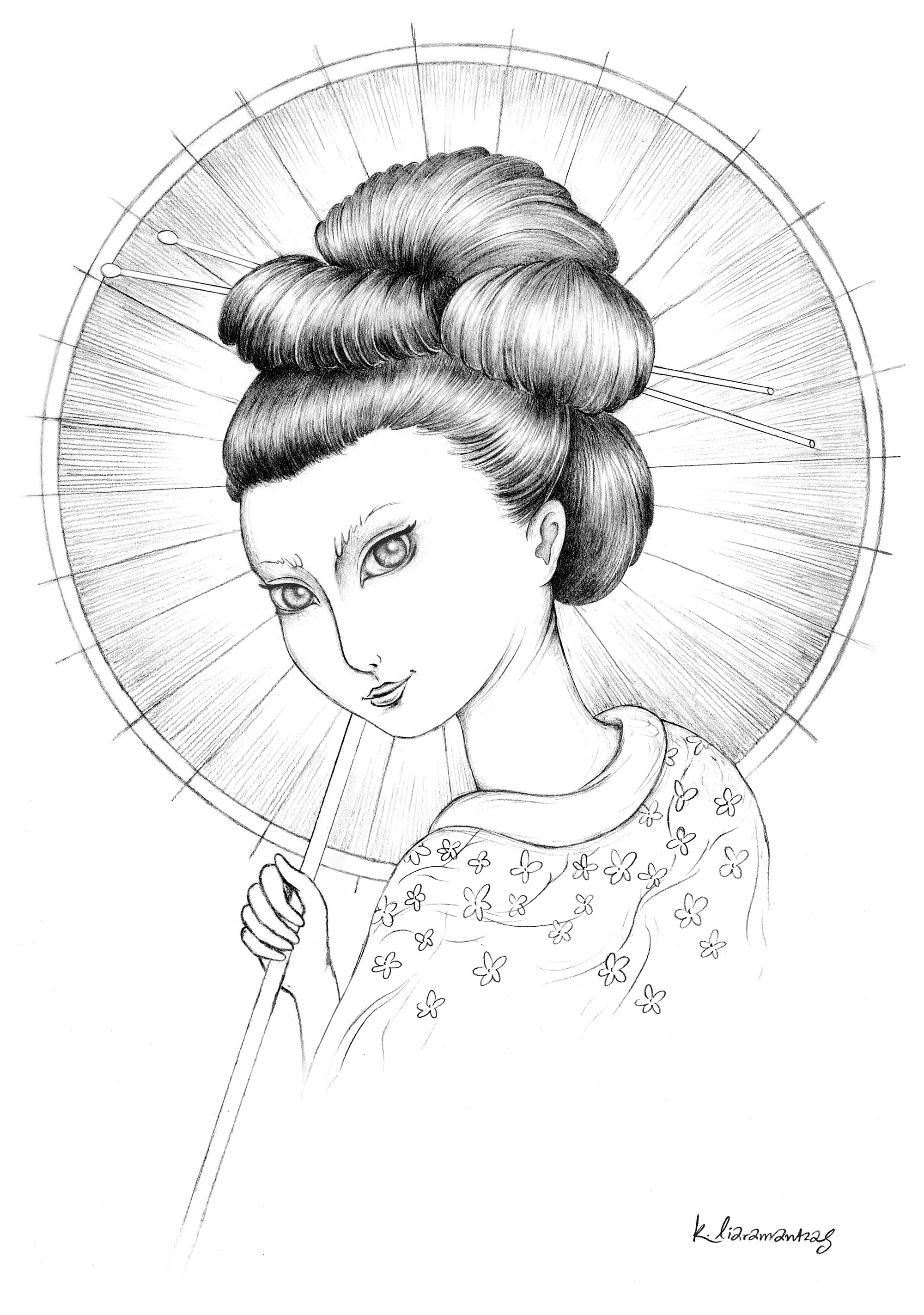 Simple portrait of a Geisha, with her cute umbrella