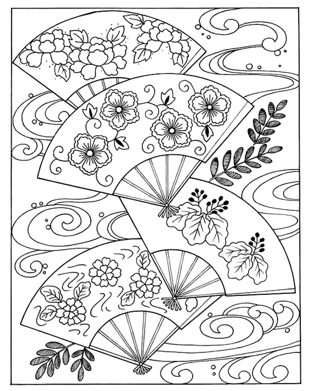 fan coloring page - japanese hand fan japan adult coloring pages