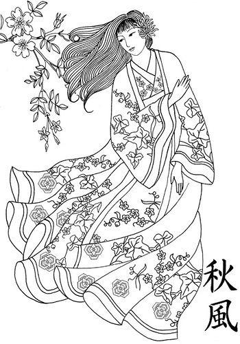 Coloring japanese woman traditional dress