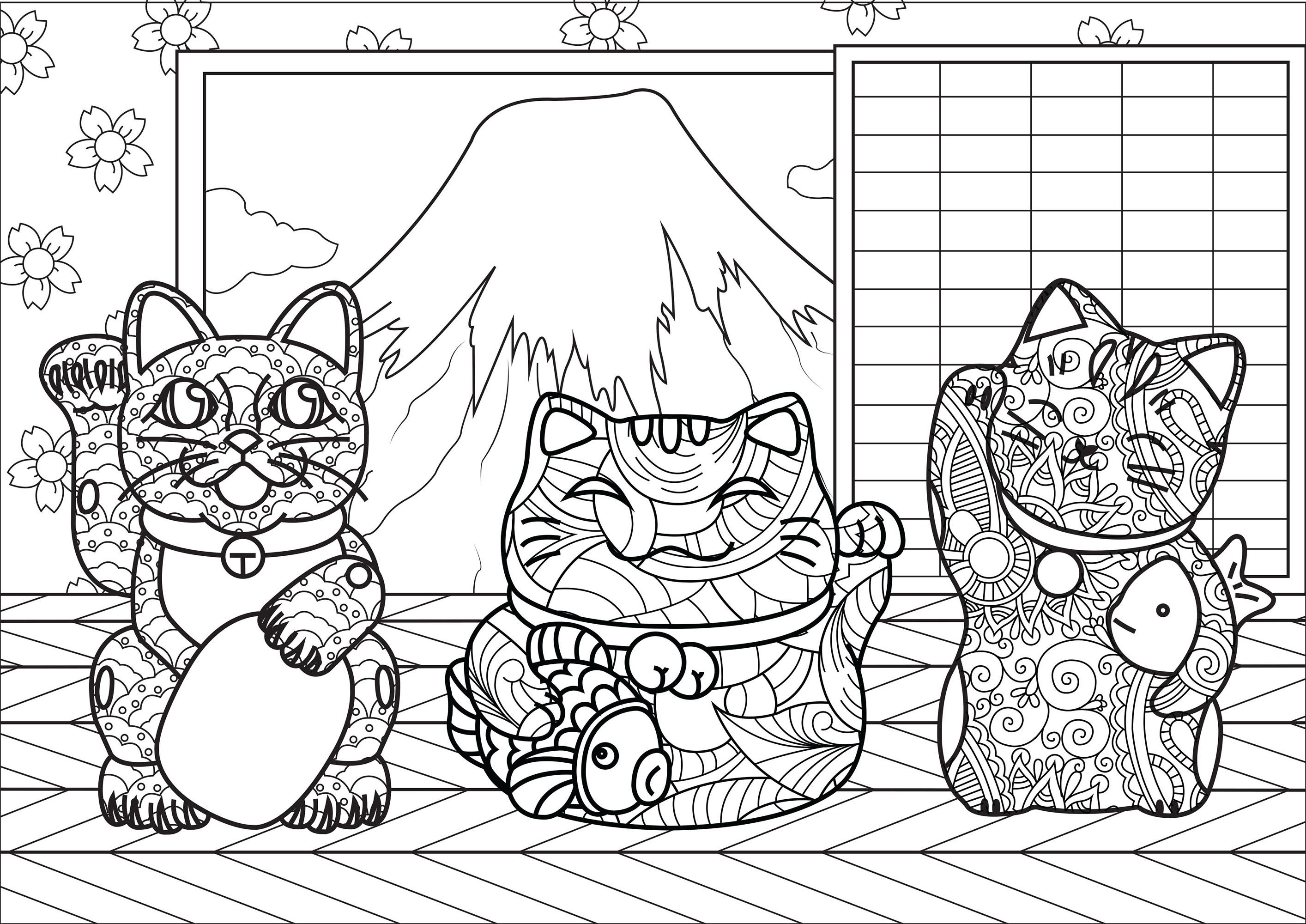 Maneki Neko cats with complex patterns, in a little house near Mount Fuji