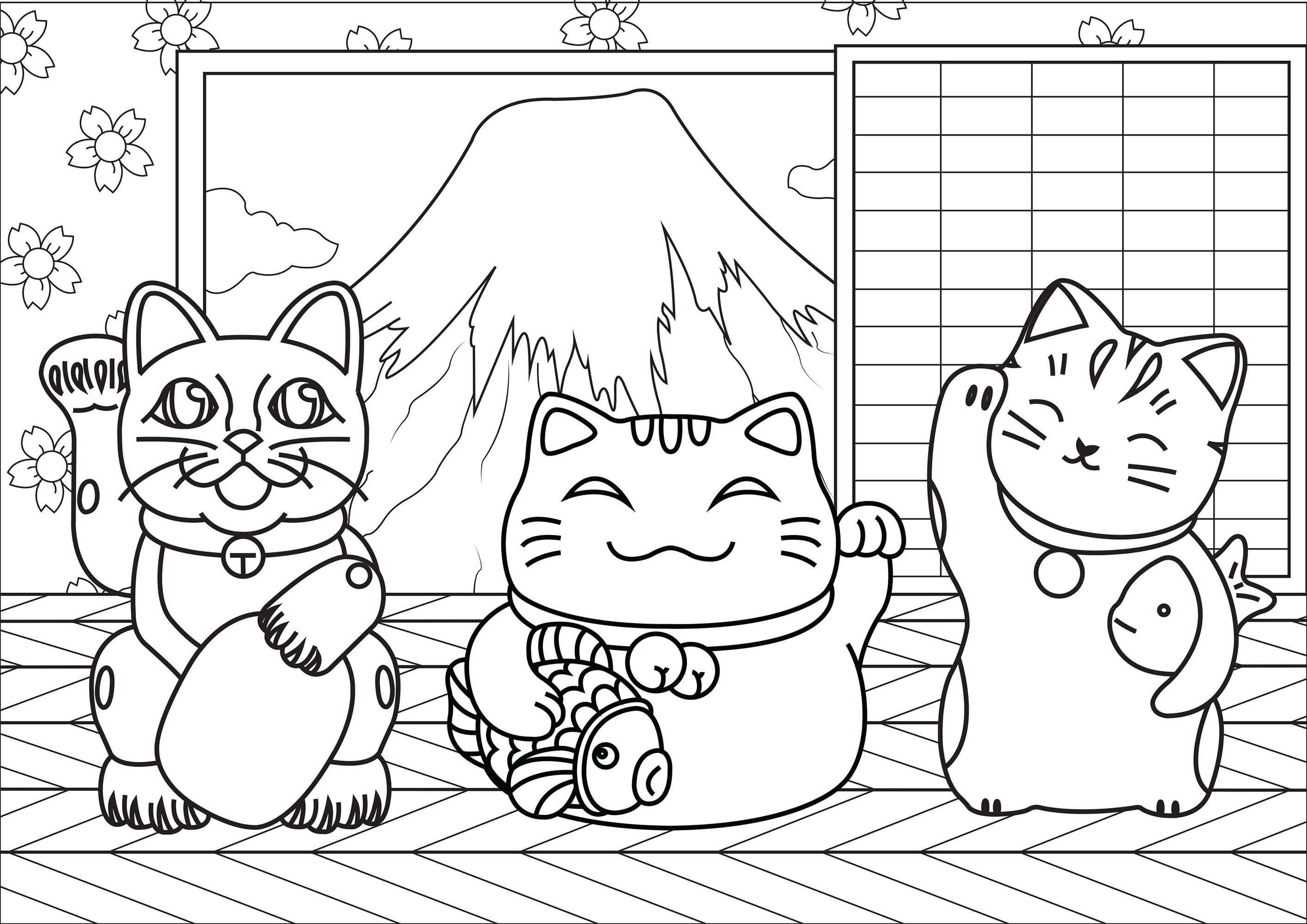 Color these three Maneki Neko cats, who are in a cute house in front of Japan's Mount Fuji