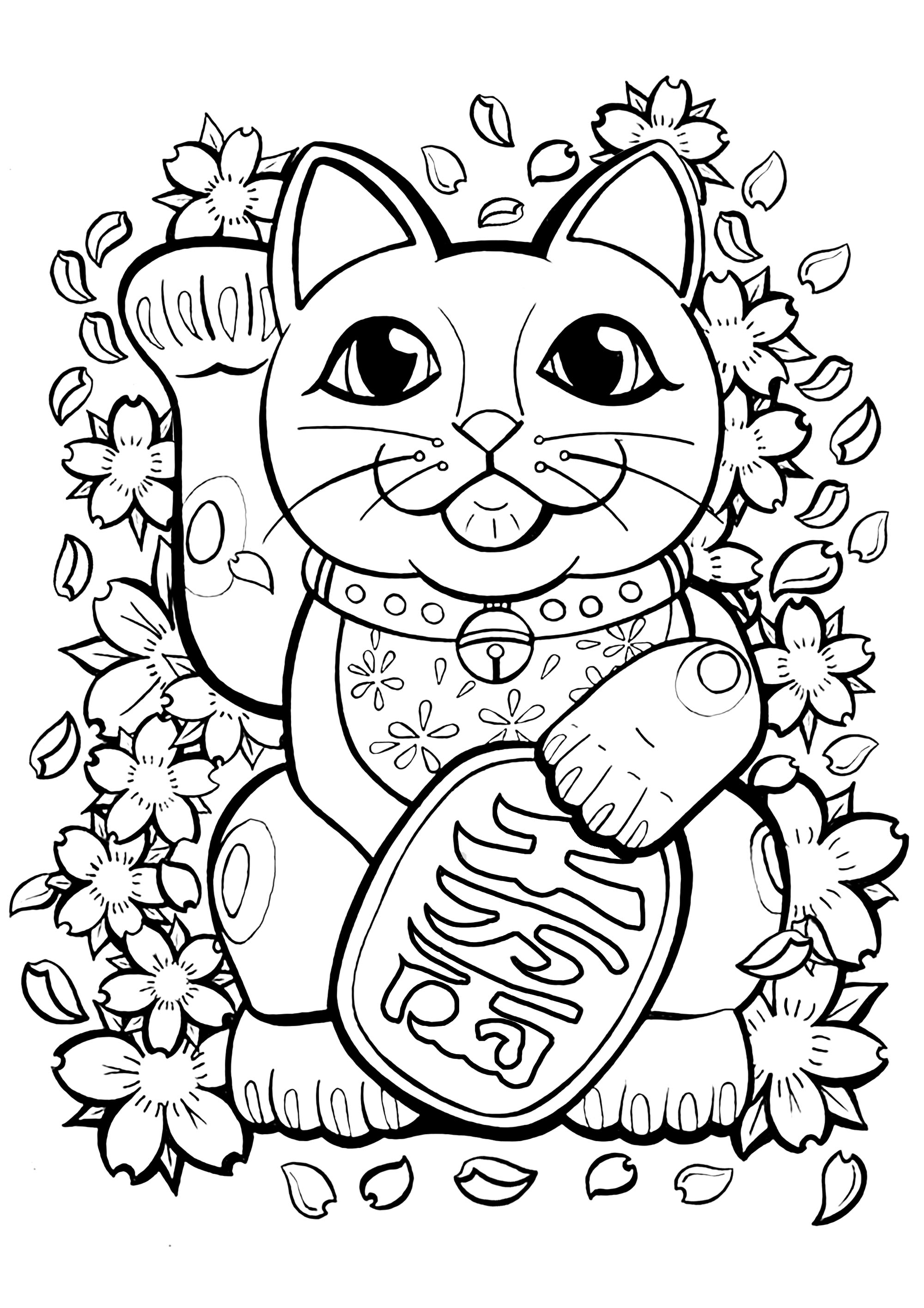 Color this Maneki Neko (literally 'beckoning cat') and all the cute elements around him