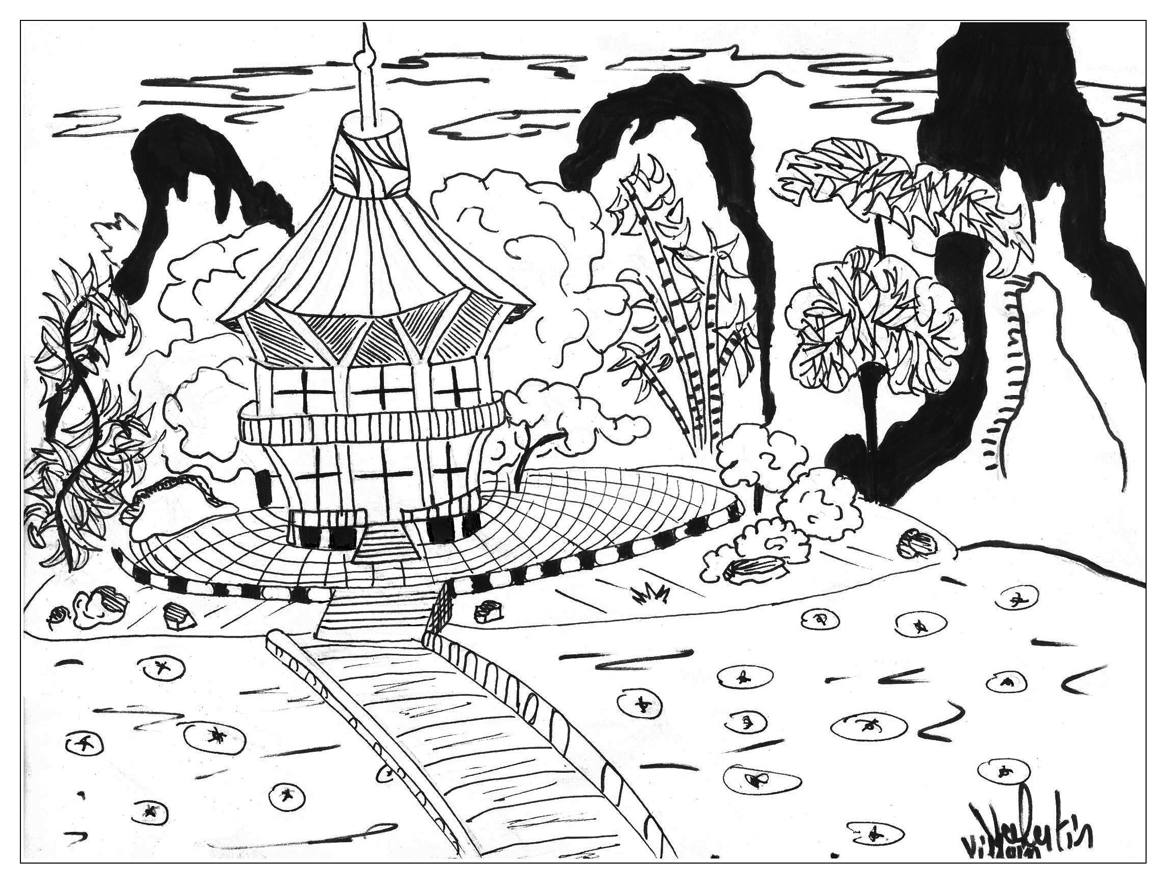 coloring page adults japan valentin free to print - Cherry Blossom Tree Coloring Pages