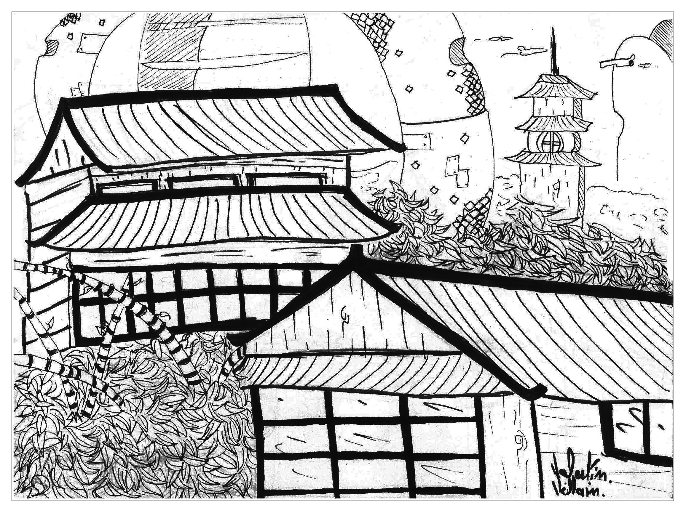 A great coloring page on the Japan theme by Valentin