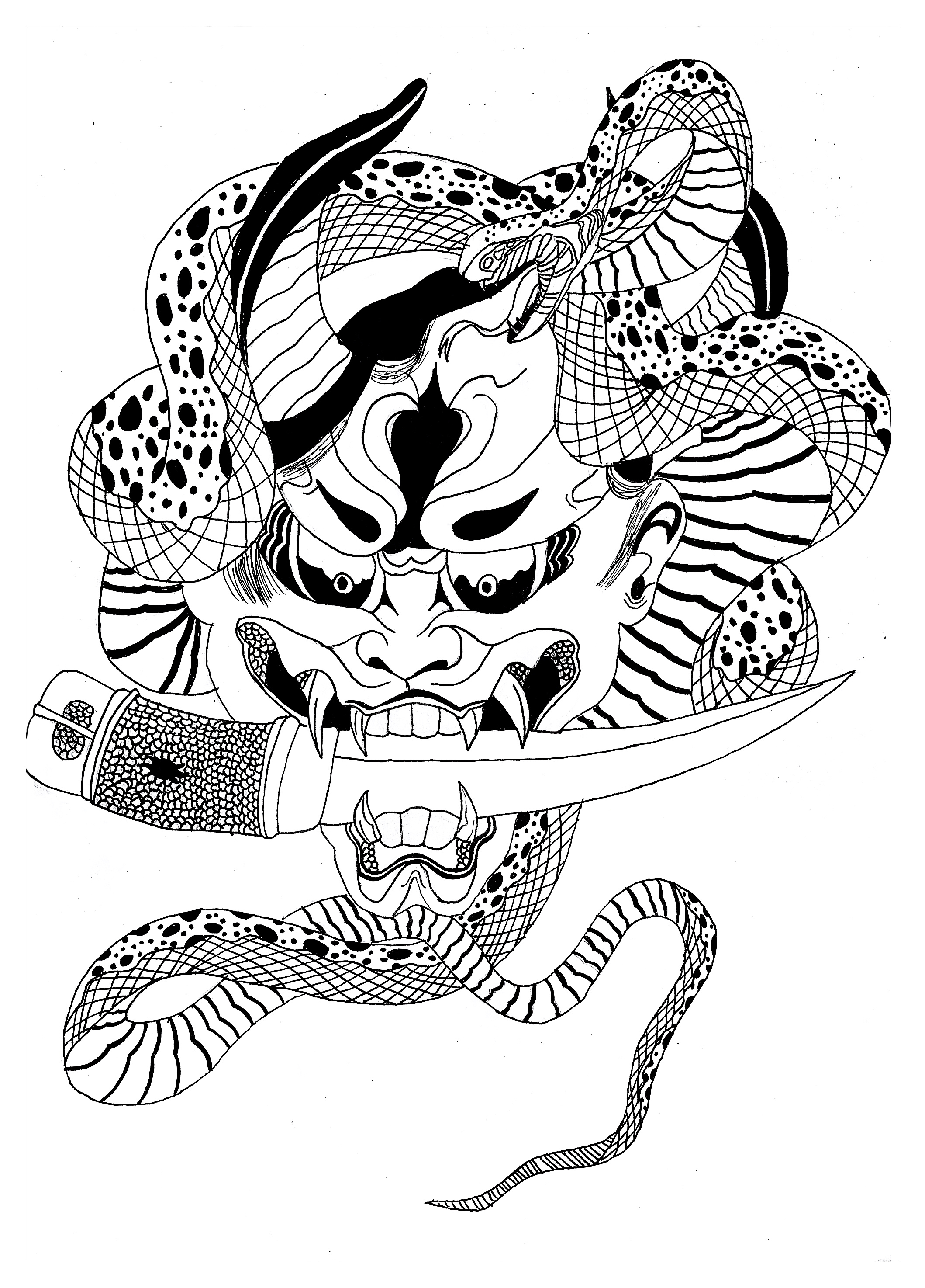 Coloring page of a Japanese Hannya mask.