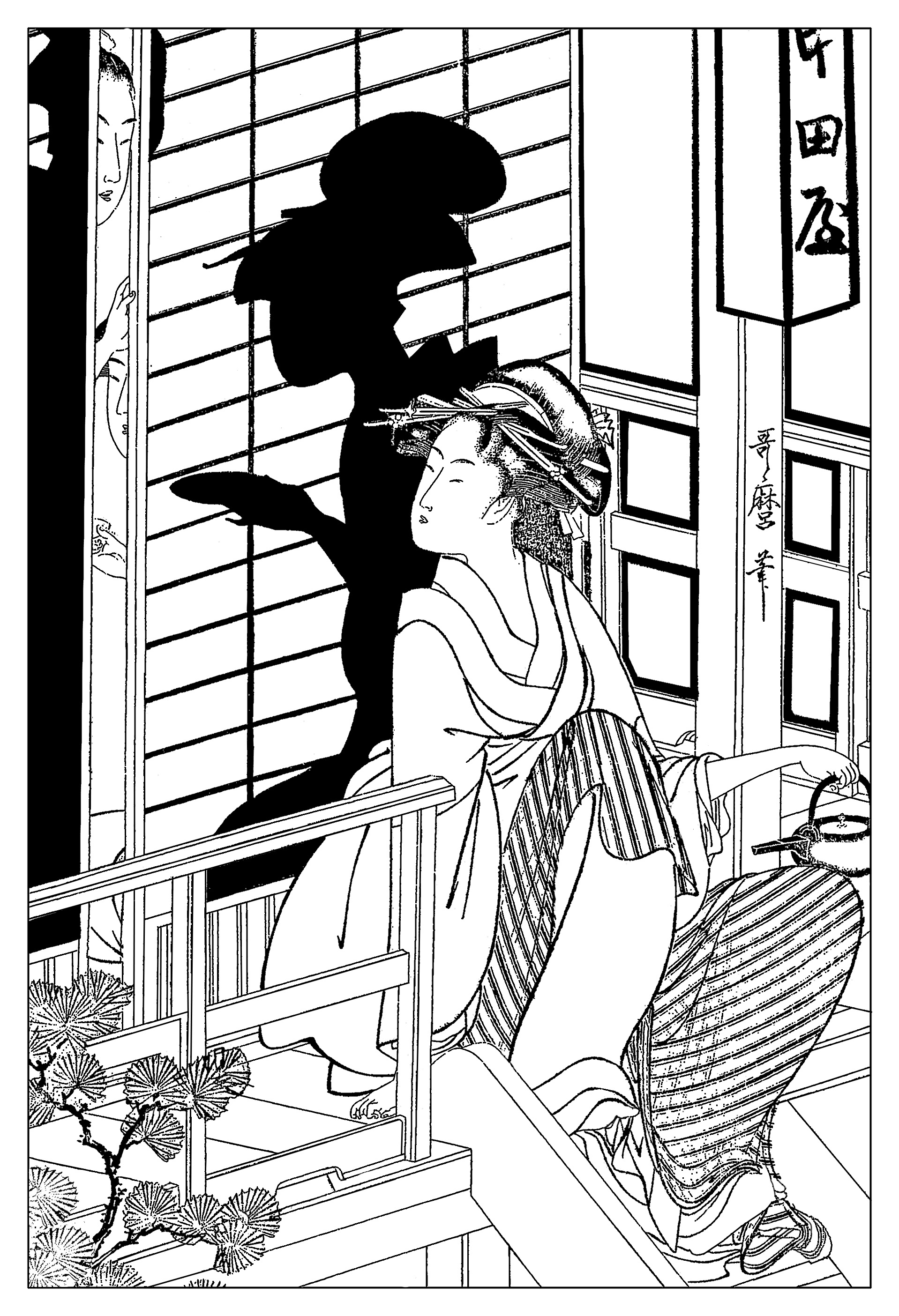 Drawing created from tea house japan adult coloring pages
