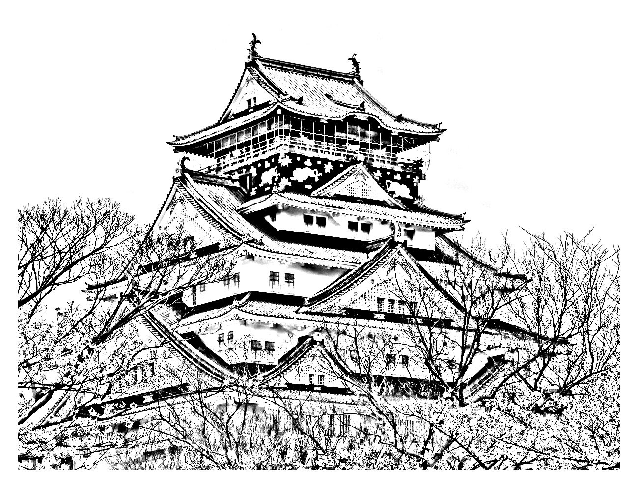 Temple of the cherry blossom season japan - Japan Adult Coloring Pages