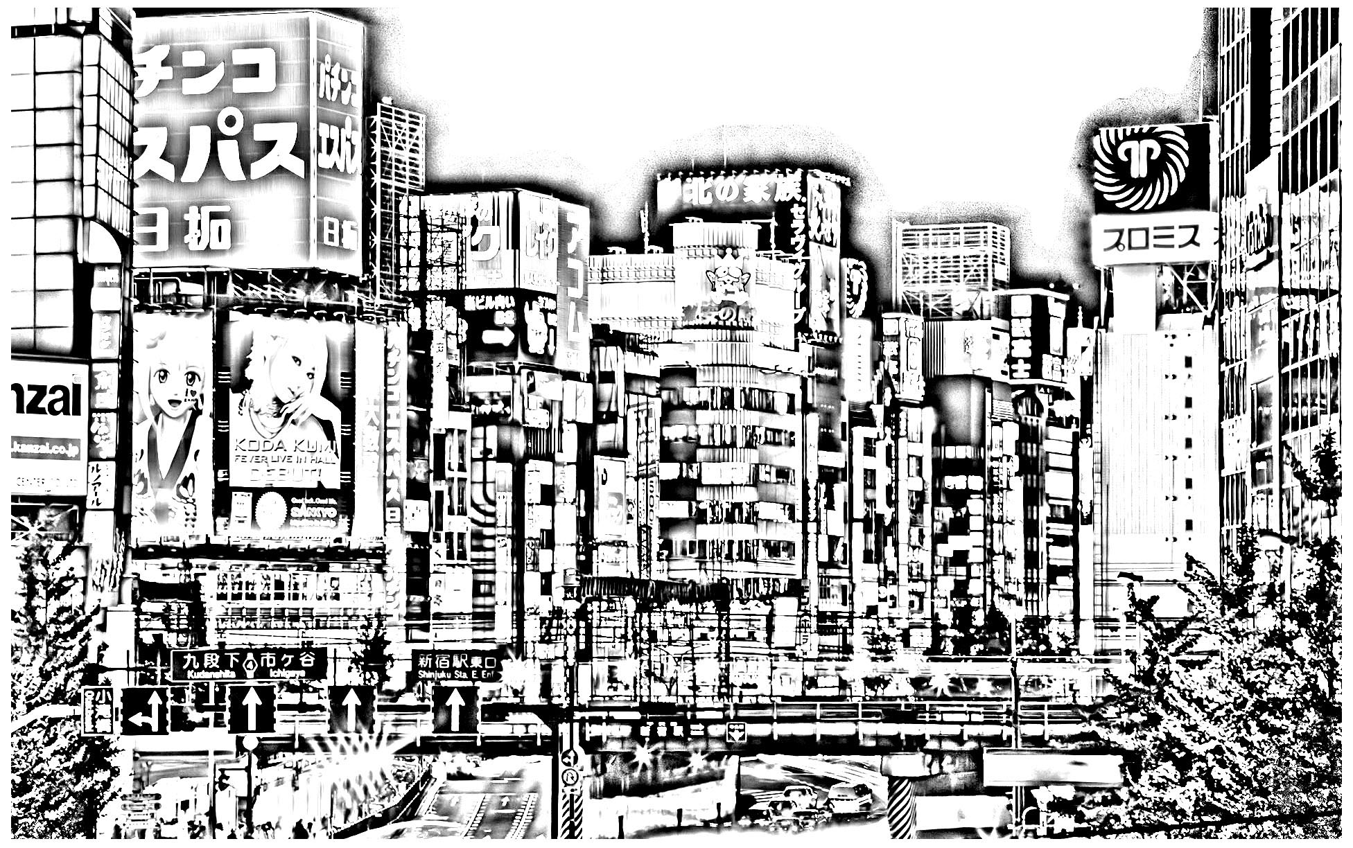 to print tokyo Japan Coloring pages for adults