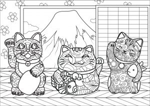 Maneki Neko in front of Japan's Mount Fuji (complex version)