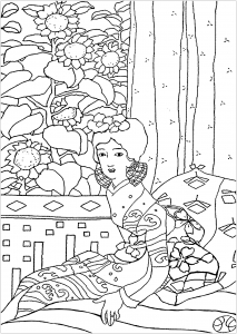 Coloring Page Created From A Painting Representing Geisha By Japanese Artist Yumeji Takehisa 1884