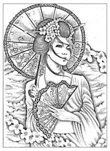 coloring-geisha-japan-tatoo free to print