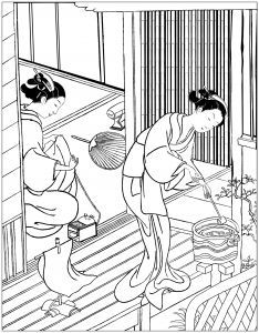 Coloring japan two women on a veranda