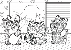 Maneki Neko Cats With Complex Patterns In A Little House Near Mount Fuji