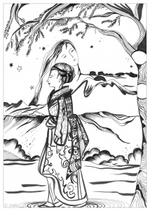 Coloring page adult urielle sweet contemplation