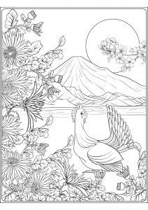 Mont Fuji and bird