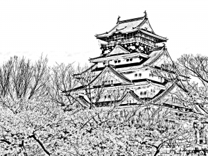 coloring temple of the cherry blossom season japan - Cherry Blossom Tree Coloring Pages