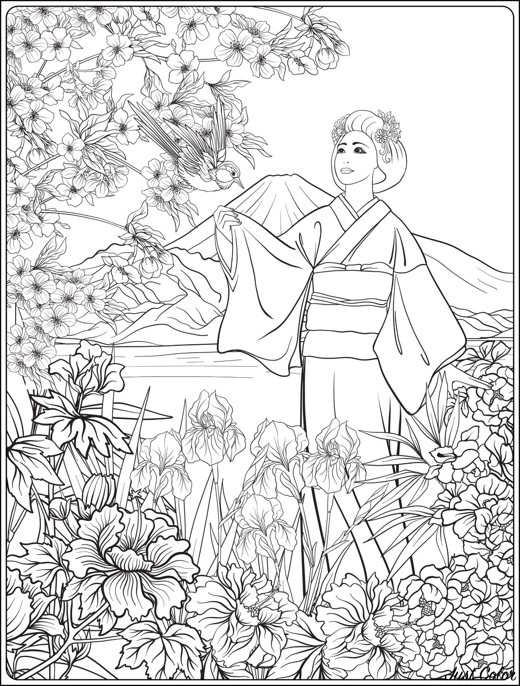 Coloring Pages Coloring Book For Children And Adults Colouring Pictures  With Kimono Girl Antistress Freehand Sketch Drawing With Doodle And  Zentangle Elements Stock Illustration - Download Image Now - iStock | 1351x1024