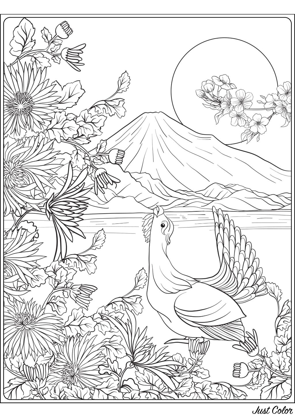 A superb coloring page on the theme of Japan, with a bird, Mount Fuji, and magnificent vegetation in the foreground