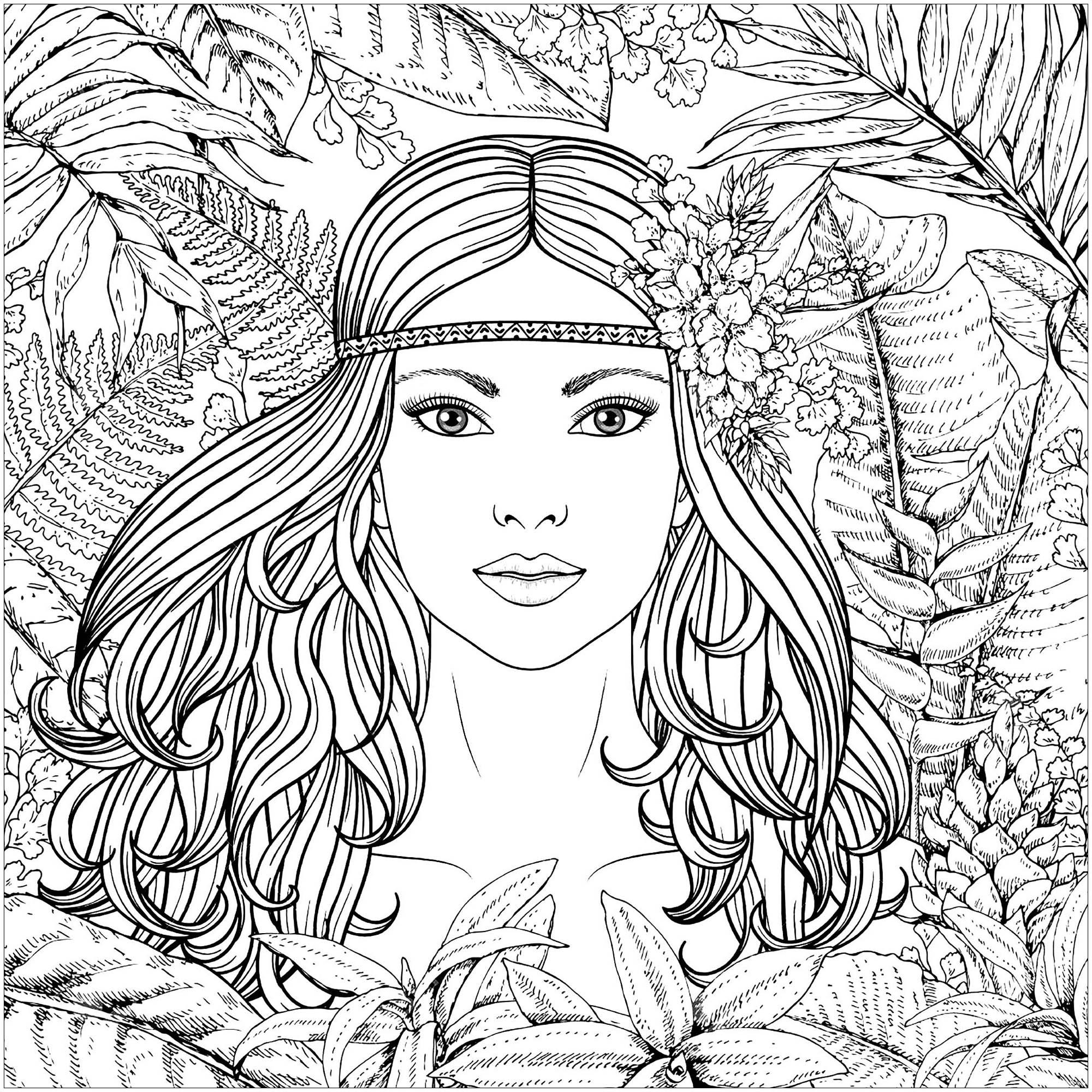 Coloring forest woman potrait
