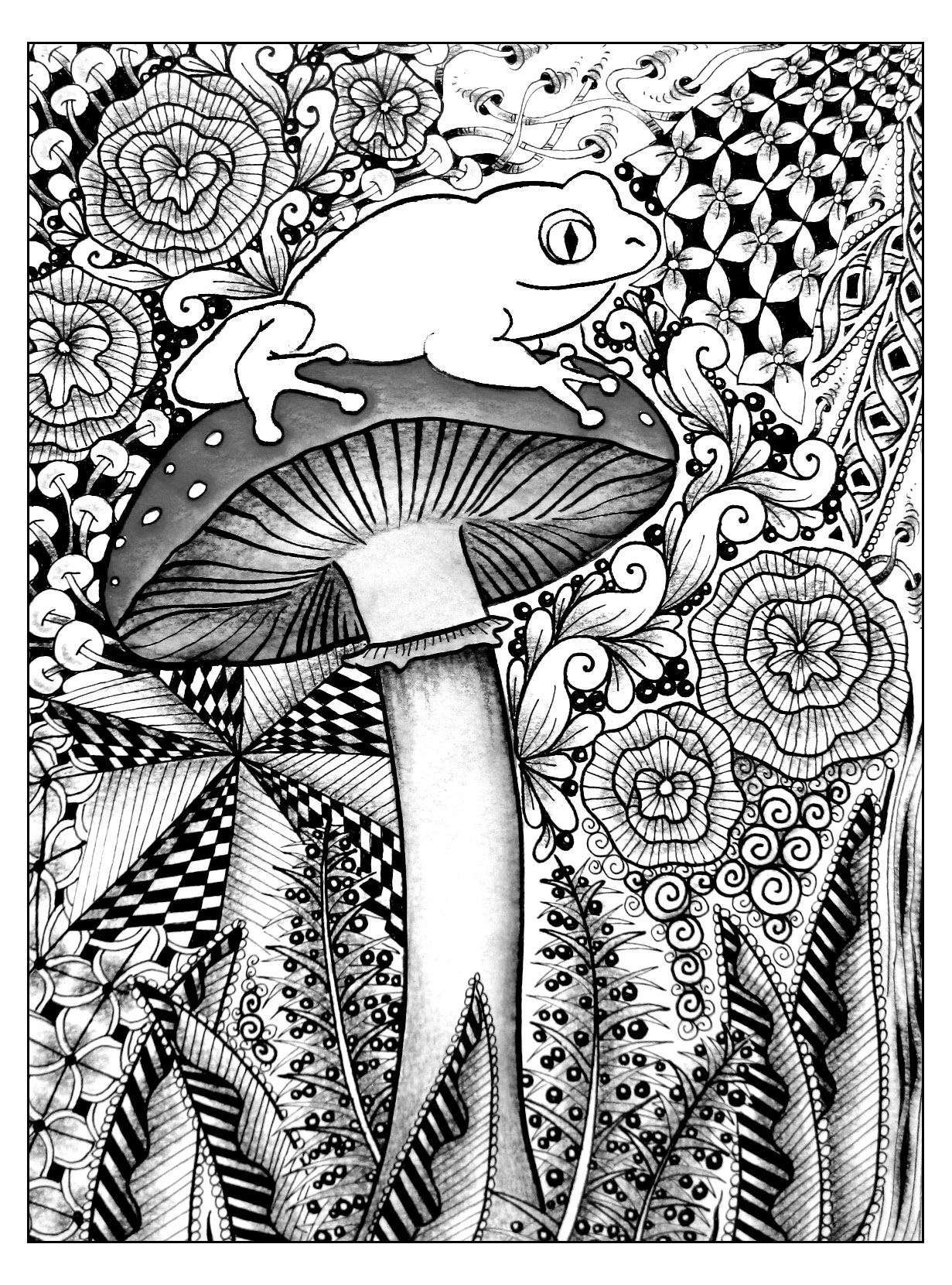 A cute frog on a big mushroom, for a beautiful coloring page for adult | From the gallery : Jungle & Forest