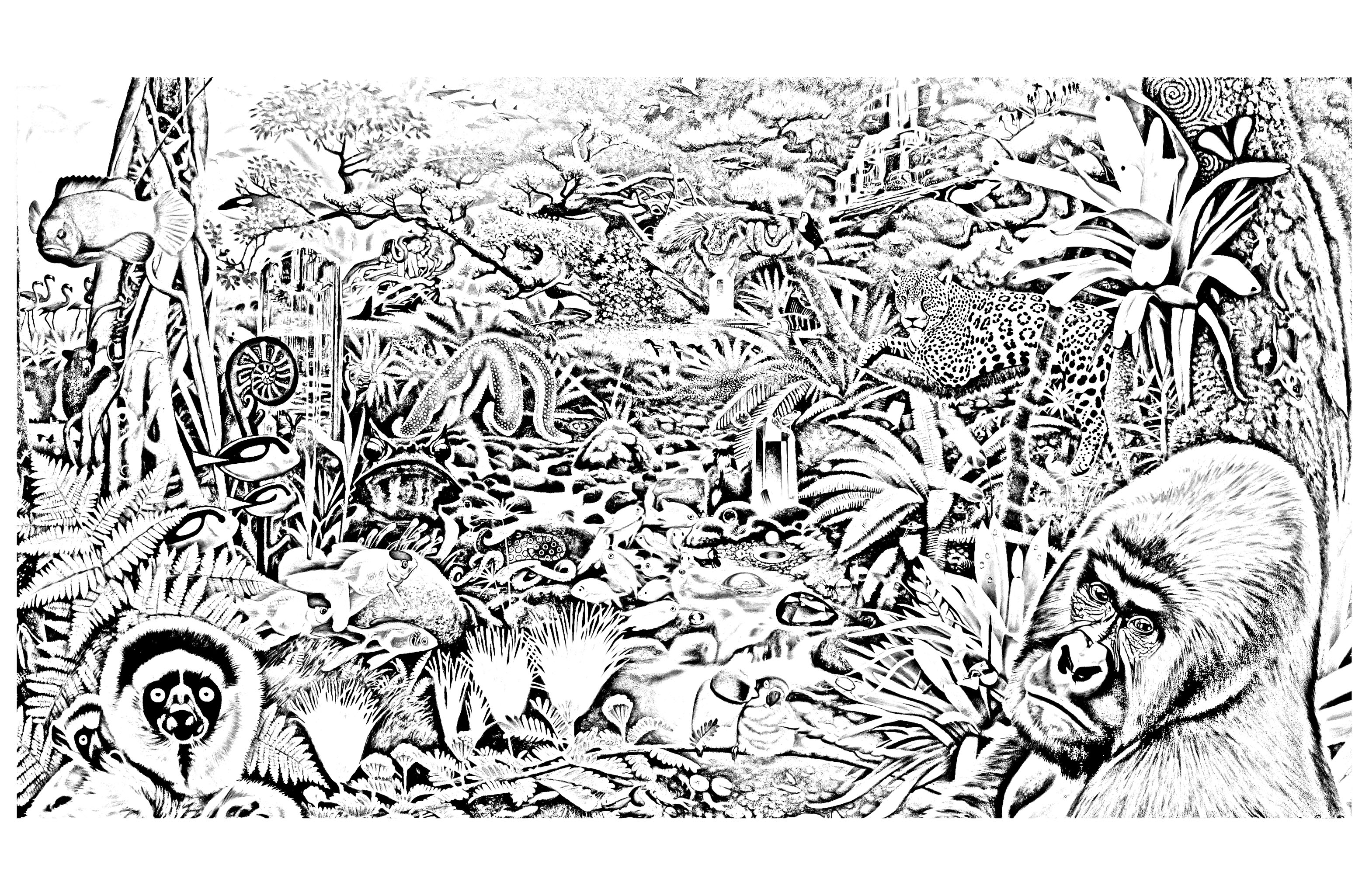 Various animals in a forest, to print and color for free