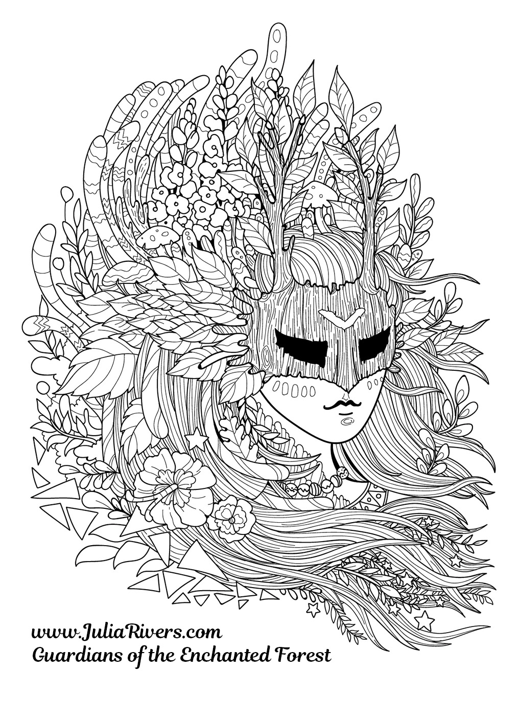 'Guardians of the Enchanted Forest' : Incredible coloring page of a masked creature, with hair full of flowers, leaves, mushrooms ...