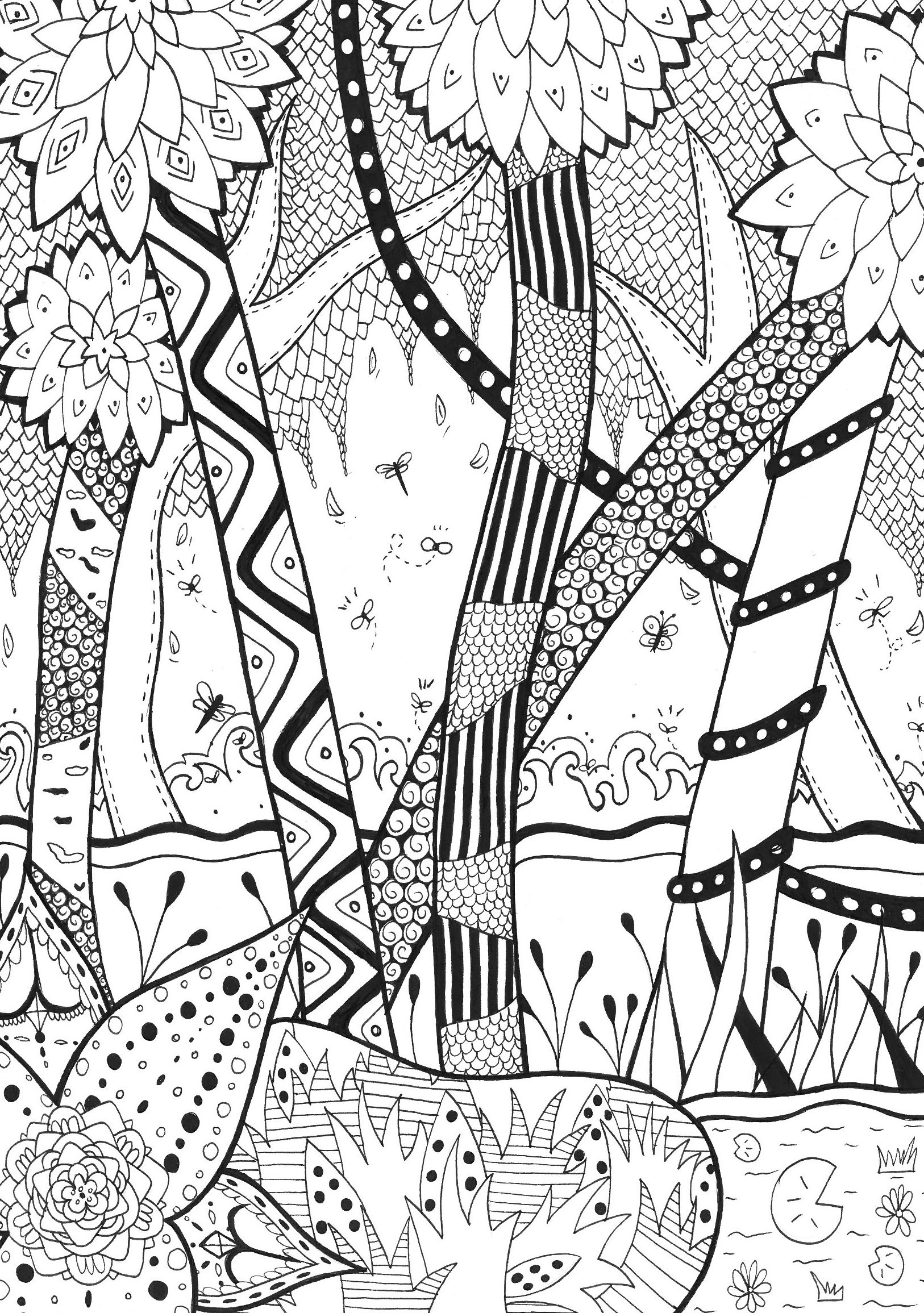 Printable coloring pages jungle - Coloring Page Adults Forest Rachel Free To Print