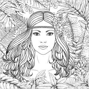 coloring-forest-woman-potrait