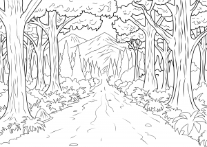 Coloring page adults forest celine