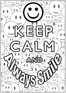 Coloring Keep Calm and always smile