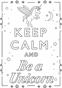 Coloring Keep Calm and be a unicorn