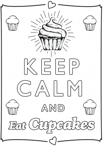 Coloring Keep Calm and eat cupcakes