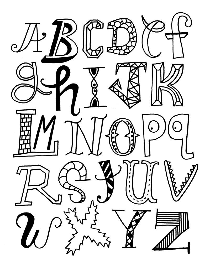 alphabet different styles alphabet coloring pages for kids to