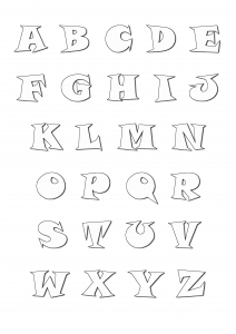 coloring page alphabet cartoon style