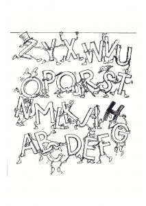 coloring page alphabet fun