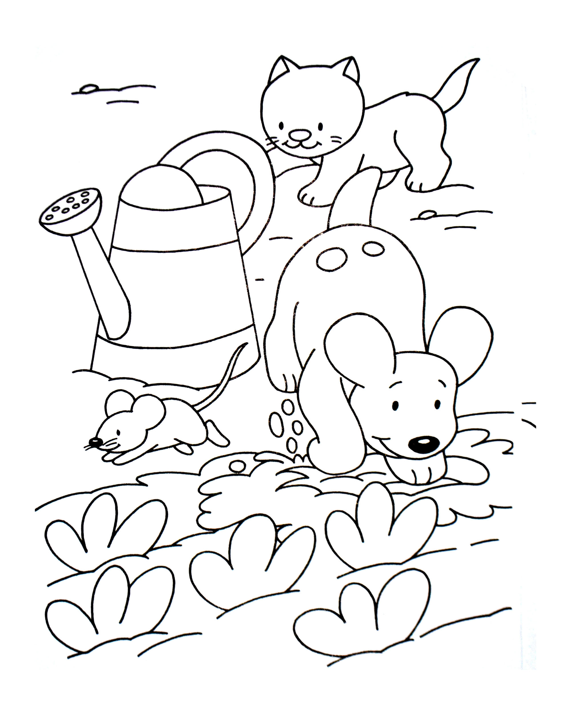 Dog Cat And Mouse Animal Coloring Pages For Kids To Print Color