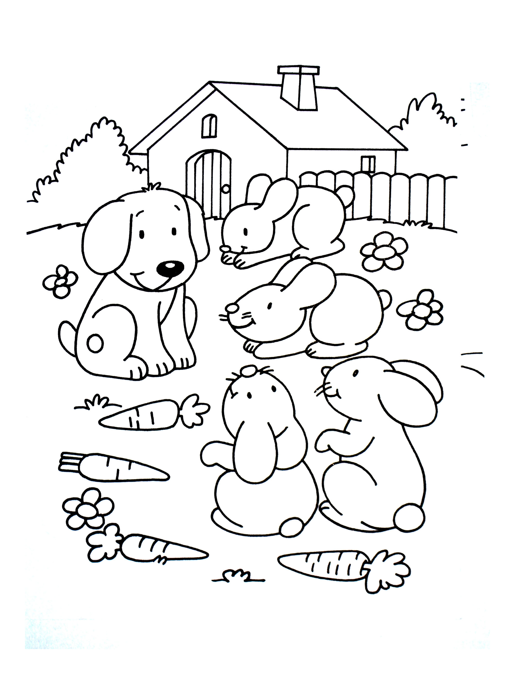 Dog with rabbit friends - Animals Adult Coloring Pages