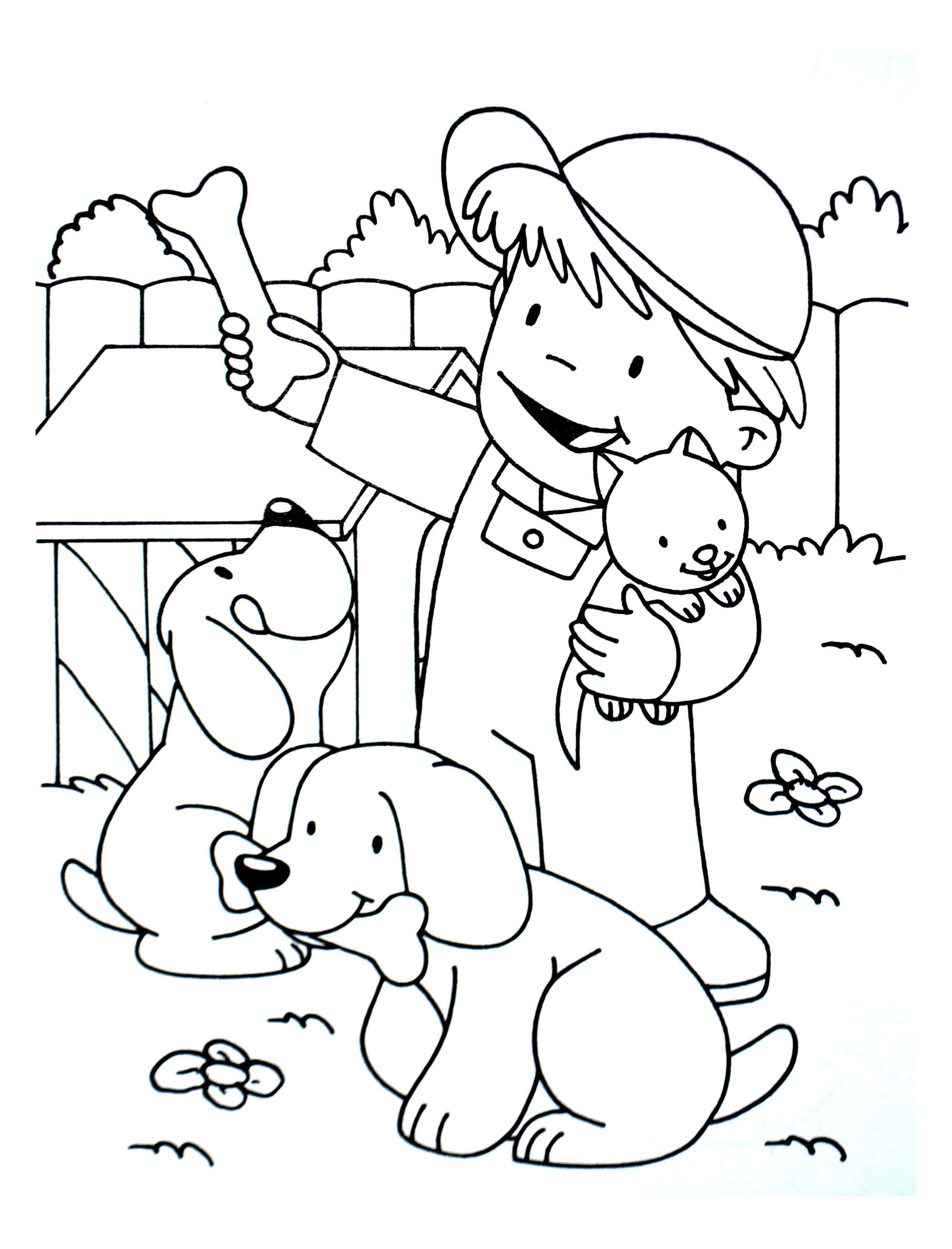 Coloring Kid With A Cat And Two Dogs Free