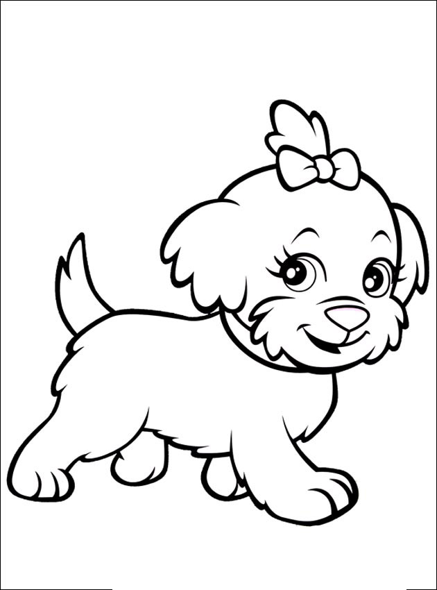 Little dog girl - Animal Coloring pages for kids to print & color
